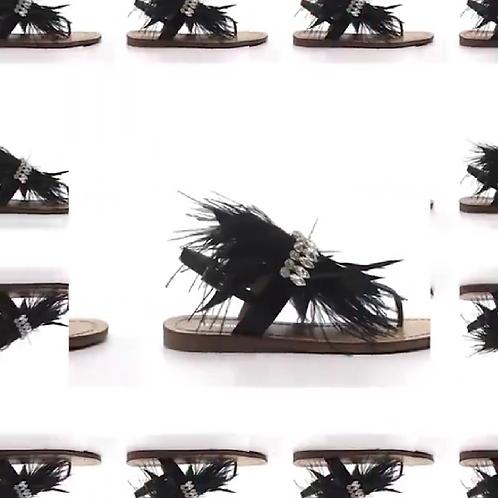 FEATHEREY-1 Black Sandal