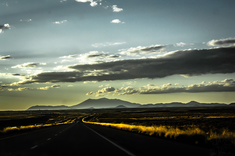 open road ahead in Arizona with my Dad