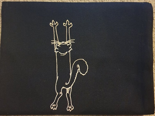 Scratching Cat Teatowel BLACK