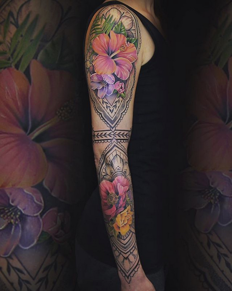 Mehndi and Flower Sleeve