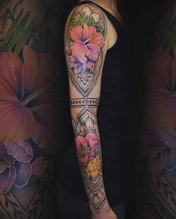 Mehndi and Flower Sleeve
