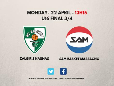 La SAM sfida lo Zalgiris per il terzo posto