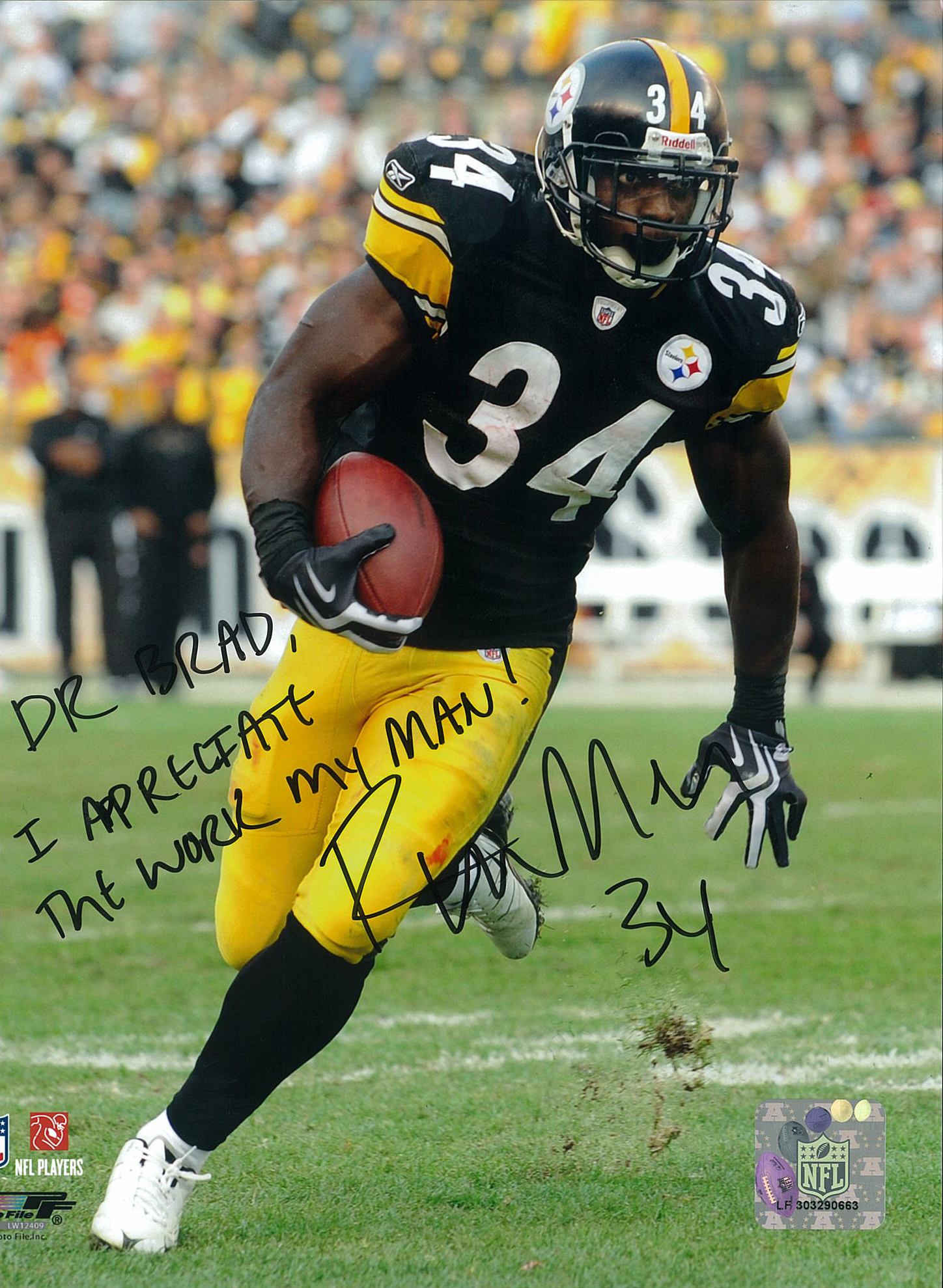 Rashard Mendenhall, #34 of the Pittsburgh Steelers
