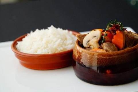 Beef Stroganoff and plain basmati rice.j