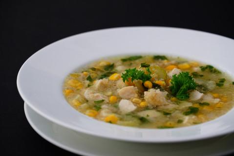 Quinoa, sweet corn _ chicken clear soup.