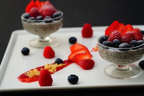 Chia pudding with almond milk and berrie