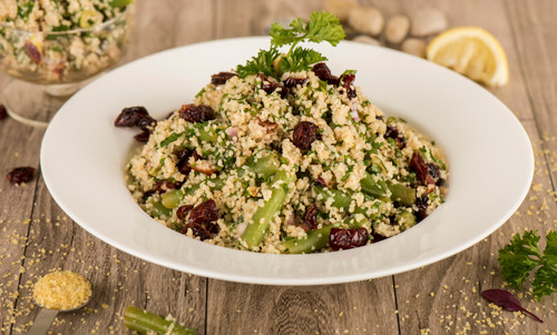 Bulgur salad with dried cranberries, gre