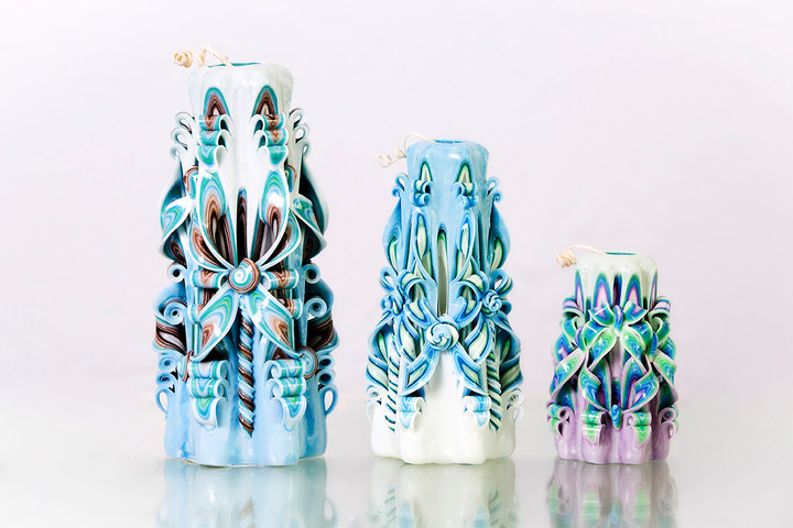 Blue and white carved candles