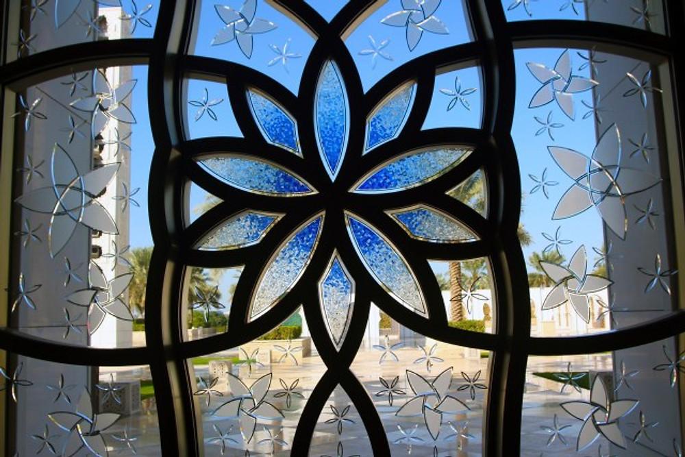 Grand Mosque window in Abu Dhabi