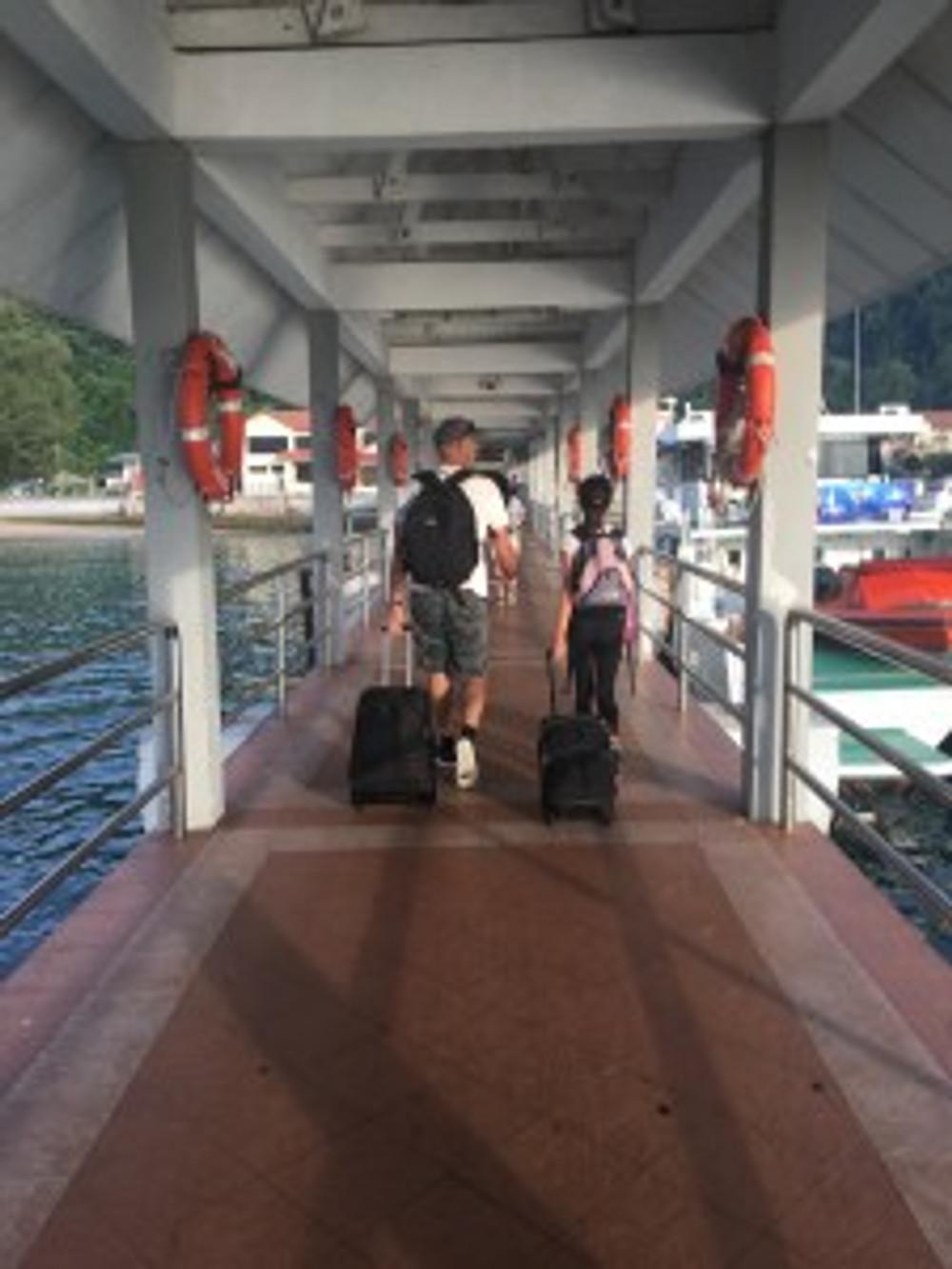 Getting off the ferry at Tekek in Tioman Island
