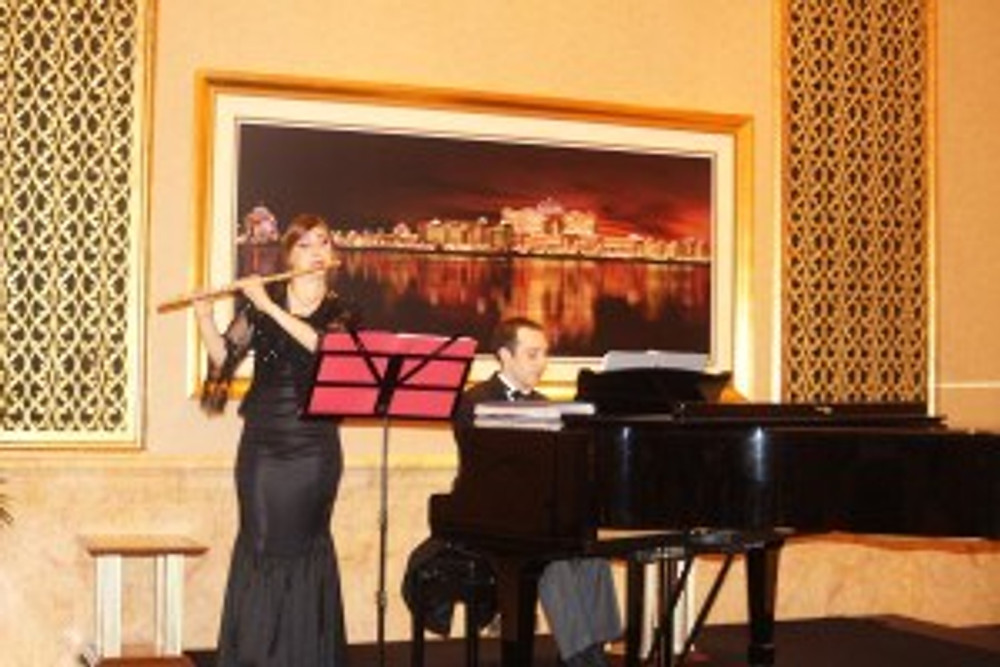 Flautist & Piano Player in the Lobby. Emirates Palace