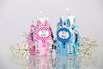 Baby shower gift pink and blue candles
