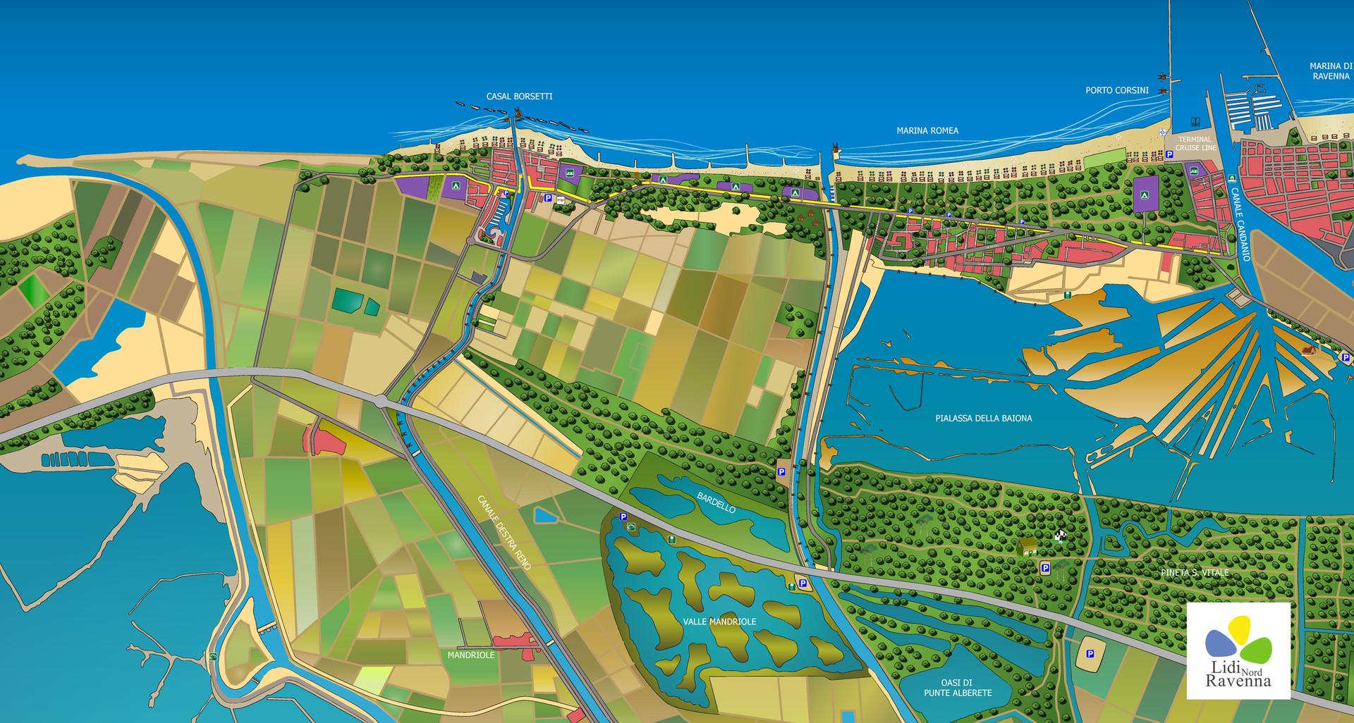 Mappa Lidi Nord Ravenna. Copyright