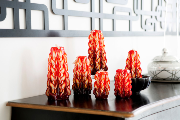 Red handcarved candles