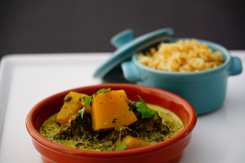 Spinach _ pumpkin curry and brown basmat