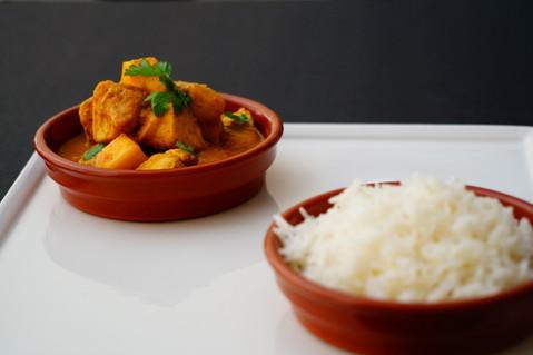 Chicken _ mango curry and plain basmati.