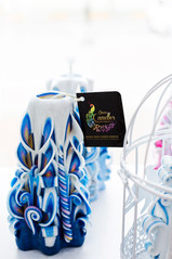 Blue candle with gift tag corporate gift