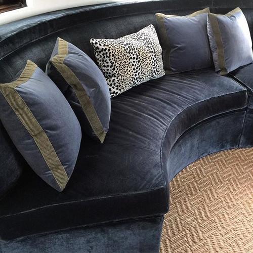 Blue built in velvet sofa