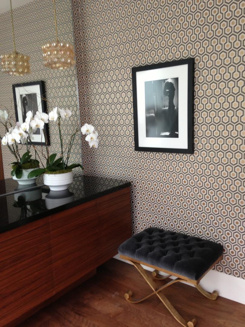 Mid Century Powder Room designed by interior designer Catherine Fellowes
