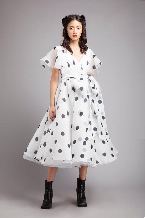 Flutter sleeves wrap dress