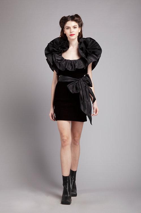 Ruffled short belted pencil dress