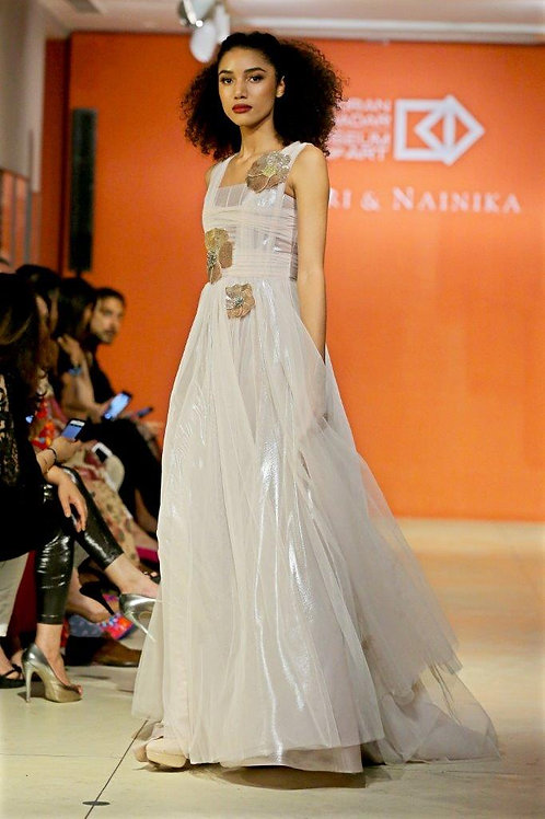 H drape gown with lame +tulle skirt