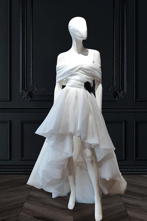 Balloon hem high low dress with off shoulder drapes and black velvet roses