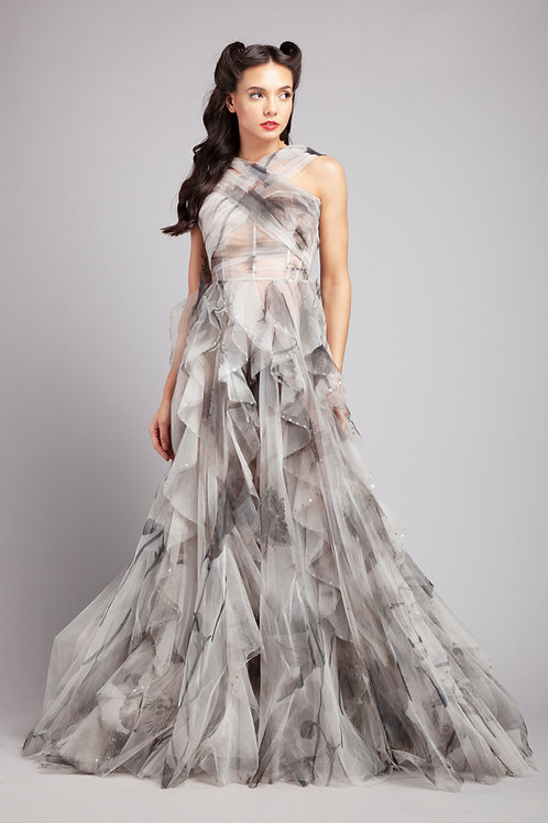 X-strap corsetted frilled gown