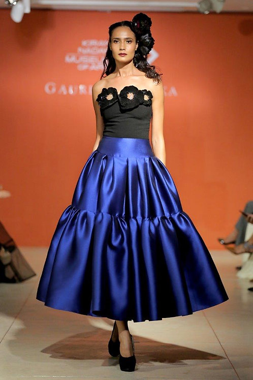 Strapless long dress with 2 tier
