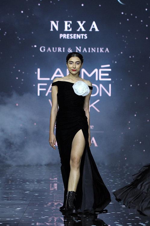 Asymmetrical high slit slim mermaid velvet gown