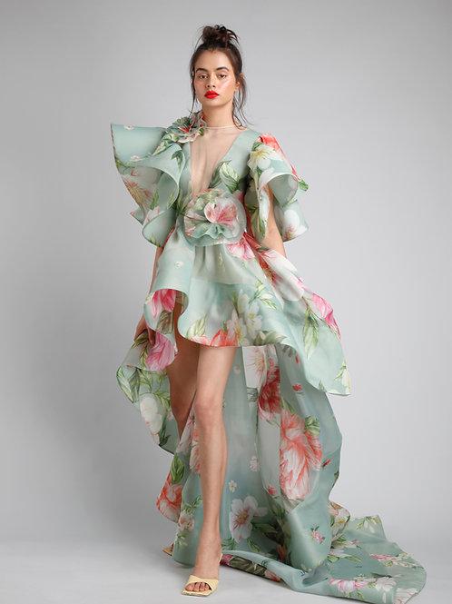 Round neck flutter sleeves high low dress