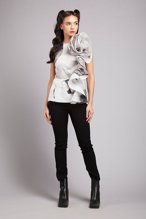 Rose fitted peplum top
