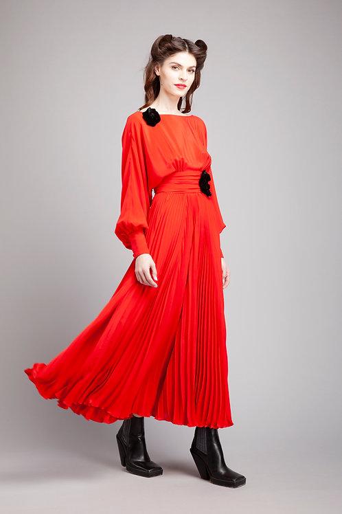 Boat neck pouf sleeves plisse dress