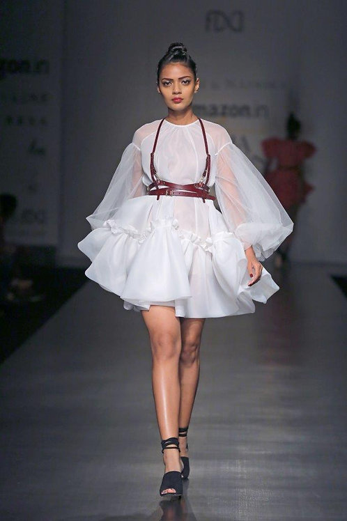 Long sleeve raglan cut trapeze dress
