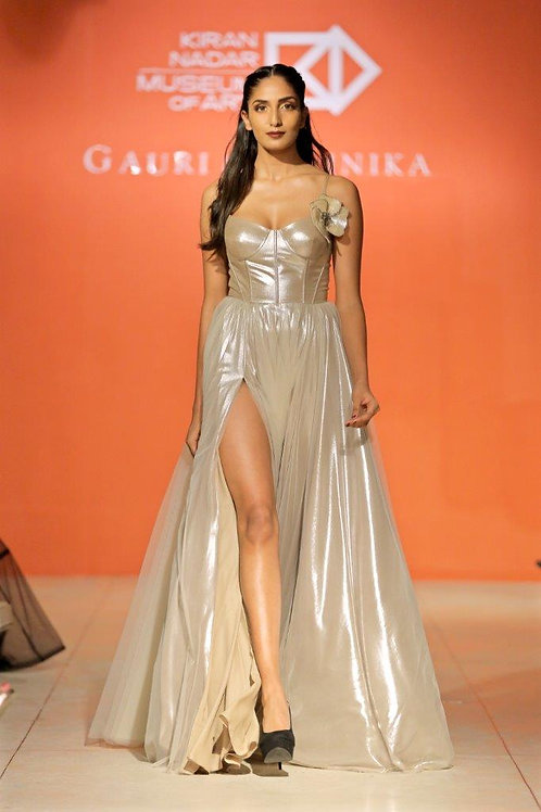 Corset gown with 2 slits