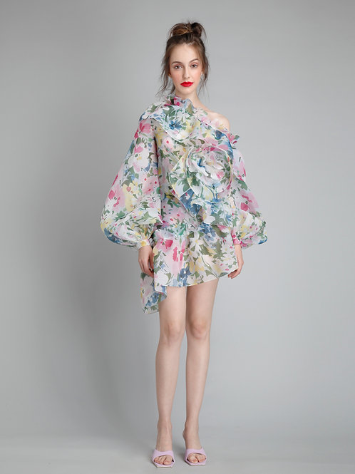 One shoulder pouf sleeves asymetrical hem frill flower dress
