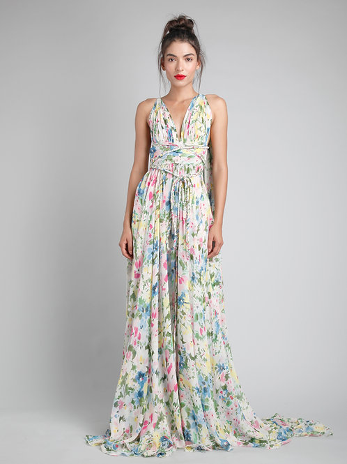 Belted goddess gown with drapes