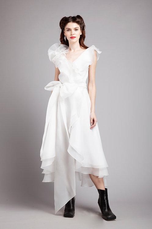 Frilled midi wrap dress