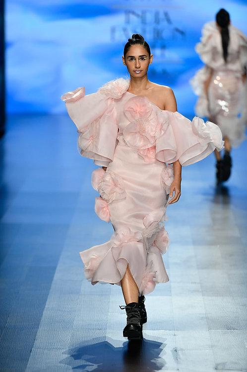 One shoulder cold shoulder dramatic sleeves pencil dress with hh frill hem