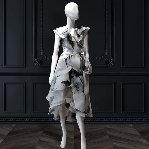 Overlapping frills wrap with bias frills all over dress