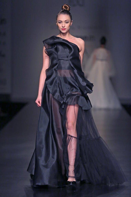 One shoulder gown with sheer panel and frill detailing