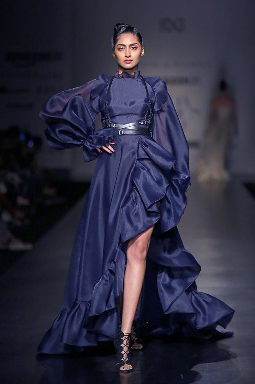 Long slit sleeve gown with high slit ruffled hem