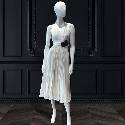 Halter neck plisse dress
