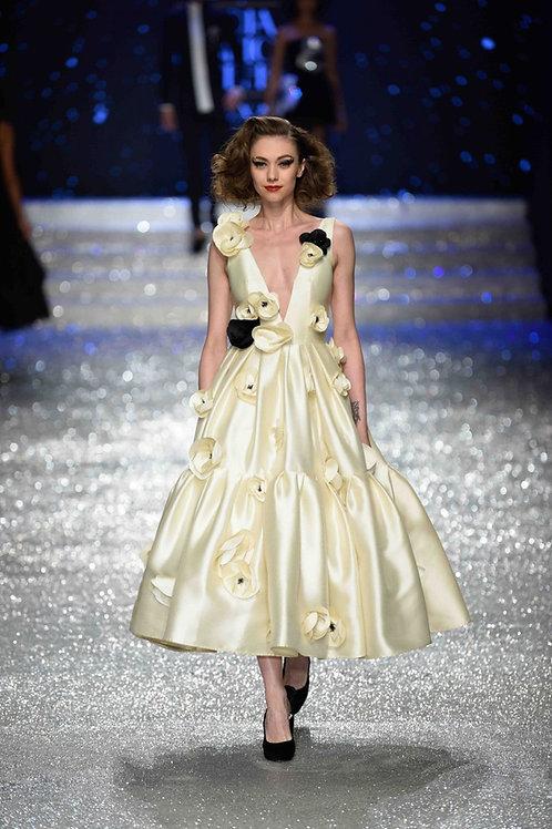 Tea length dress- deep V neck and 2 tier skirt