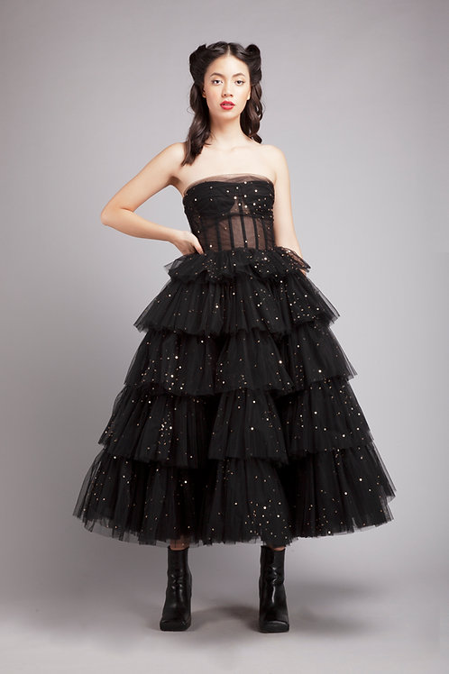 Corsetted tiered midi with sequined embroidery
