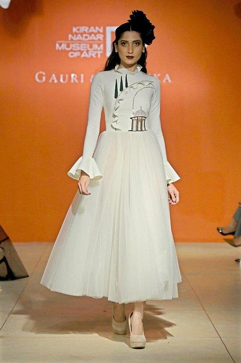 Full sleeve tea length dress with tulle skirt & small tulip path