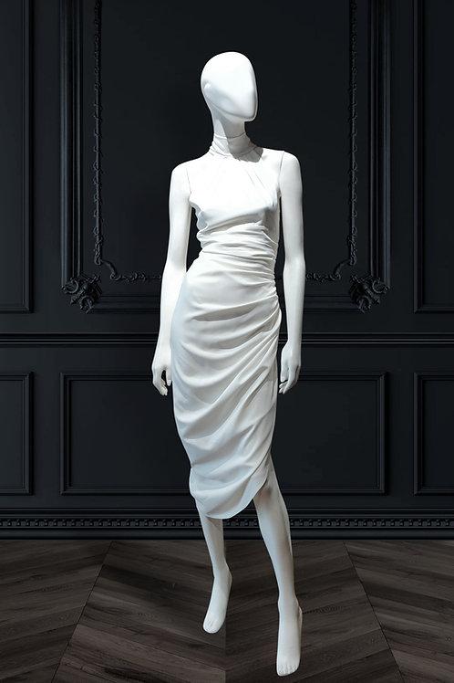 Halter high neck Asymmetric hem dress