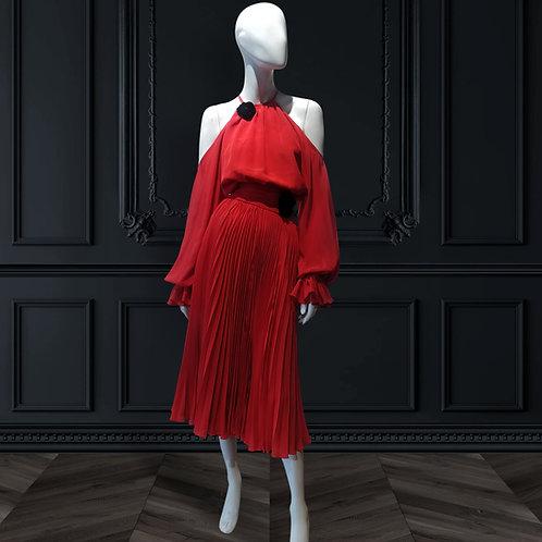 Halter neck cold shoulder pouf sleeves tea length dress