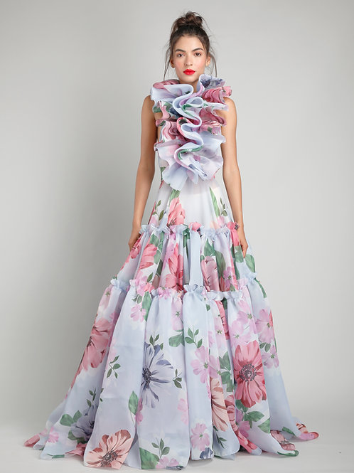 Halter bubble ruffle tiered gown