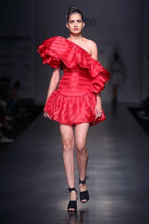 One shoulder dress with short bubble frill hem